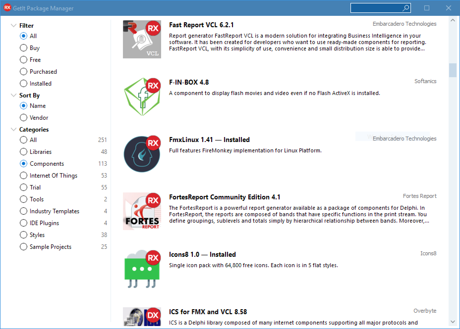 GetIt Package Manager Enhancements Coming in RAD Studio 10.4