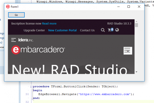 TEdgeBrowser VCL component in RAD Studio 10.4 Sydney