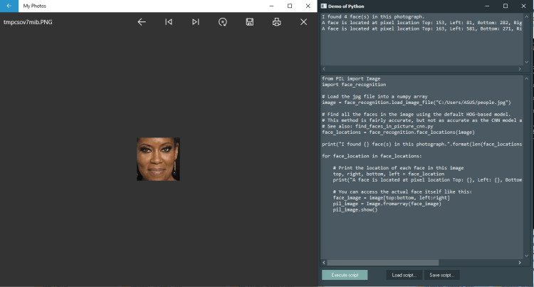 Face Recognition Demo with Python4Delphi in Windows.