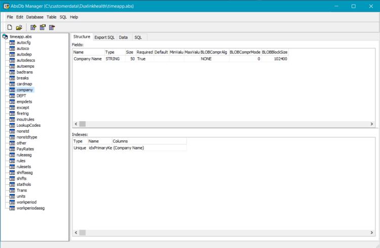 Absolute Database database manager