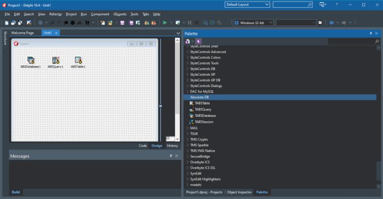 Absolute Database in the RAD Studio Delphi IDE