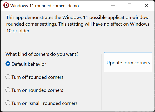 How To Control Windows 11 Rounded Corners In Your App - test Delphi 11 App